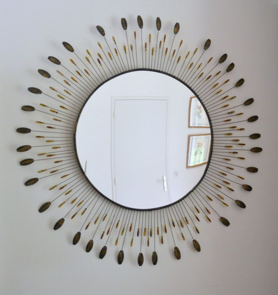 Grand miroir soleil en m tal 100 cm vintage style line for Miroir soleil metal