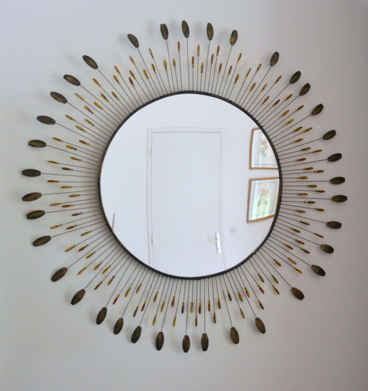 Grand miroir soleil en m tal 100 cm vintage style line for Miroir style retro