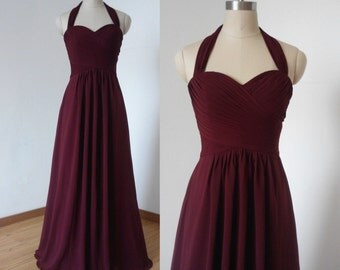Halter Sweetheart Burgundy Chiffon Long Bridesmaid Dress