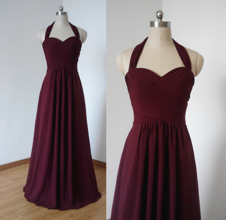 Halter sweetheart burgundy chiffon long bridesmaid dress for Simple cream colored wedding dresses