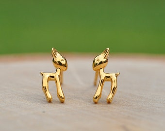 Adorable Gold Deer Earrings in 100% Sterling Silver 925, Animal Jewelry, Forest Animal Jewelry, Animal Lovers, Children's Earrings