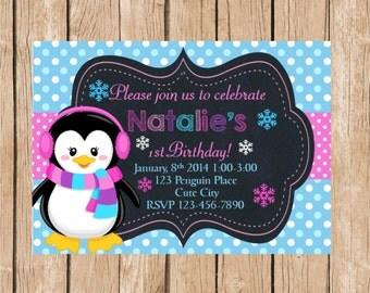 Girl Penguin Winter Wonderland Birthday Invitation