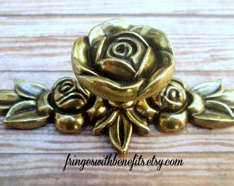 2pk Gold ROSE DRAWER PULL - Rose Pull, Flower Pull, Flower Knob, Rose Knob, Gold Knob, Drawer Pull, Drawer Knob, Dresser Drawer Pull, Knob