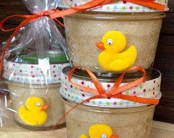80-Baby Shower Favors Sugar Scrub Favors /Organic Sugar Scrub Shower Gifts Shower Favors  Yellow Ducky Baby Shower Favors Rubber Ducky