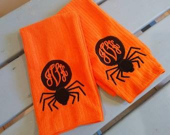Set of Two Custom Monogrammed Applique Spider Halloween Kitchen Towels!