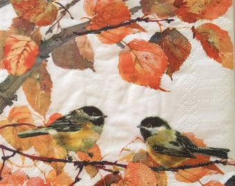 "Decoupage Napkin - Set of 3 - Autumn Birds 10"" x 10"""