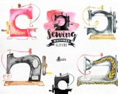 Sewing Machines Watercolor Clipart. 9 Hand painted images, black silhouettes, diy logo, invite, boho, stitching, needlework