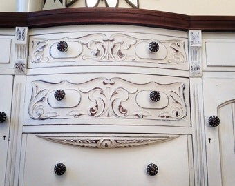 SOLD-VICTORIAN BAY Fronted Dresser Sideboard in solid mahogany. Hand painted in Annie Sloan Old White.