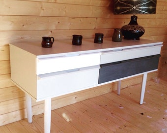 SOLD VINTAGE RETRO Sideboard hand painted in Farrow and Ball Pavilion Grey, Hague Blue & All White
