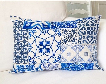 BLUE AND WHITE Cushion Cover, cushion cover, blue cushion cover, pillow, decorative pillow cover, blue pillow cover, throw pillow case,