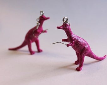 FREE SHIPPING Your Choice Color Acrisataurus Dinosaur Plastic Toy Earrings Hypo-allergenic