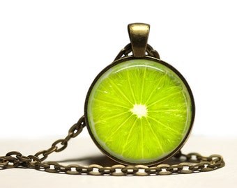 Fruit jewelry Lime pendant Berry necklace