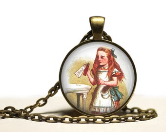 Drink me pendant Vintage jewelry Alice in Wonderland necklace