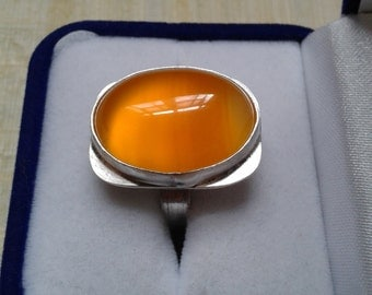 Colours of Autumn orange agate and sterling silver ring