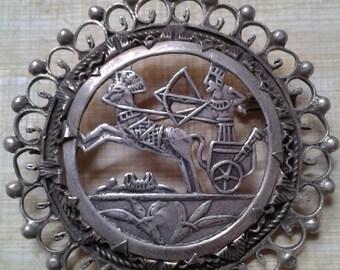 Vintage Silver Egyptian Revival Brooch