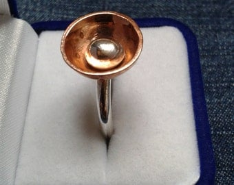 Sterling Silver and Copper Cup Ring
