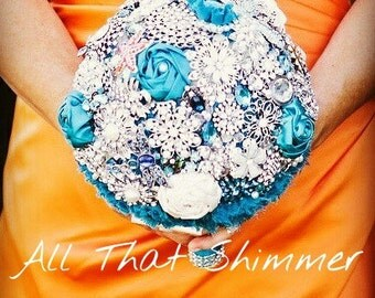 Brooch Bouquet ~ Ready to Ship Brooch Bouquet ~ Teal Brooch Bouquet ~ Shipping Included