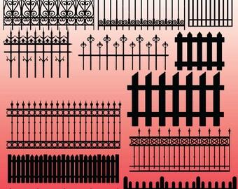 12 Fence Silhouette Clipart Images, Clipart Design Elements, Instant Download, Black Silhouette Clip art