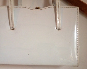 SALE WAS 16 Handbag. 1980s White PVC Top Handle Bag. Vintage
