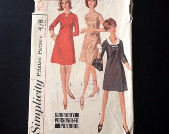 "Sewing Pattern Simplicity 6229 Vintage 1960s Misses' One Piece Dress Size 10-12, Bust 34""."
