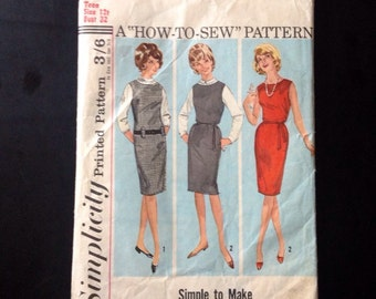 "Sewing Pattern Simplicity 5060 Vintage 1960s Teens' Jumper Or Dress Size 10-12, Bust 34""."