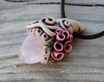 Rose Quartz - Handmade polymer clay pendant