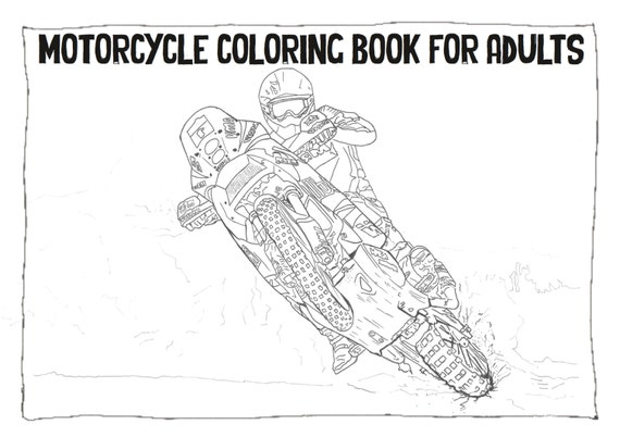 adult coloring book instant download motorcycle by dailybikers