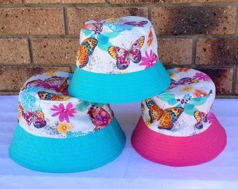 Bucket Hat Pink & Aqua Butterflies