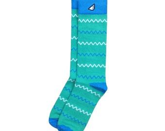 "Unique Chevron Men's & Women's Dress Socks- Light Green, Sky Blue + White - Fun Colorful - ""Charlie"" Christmas Holiday Gift Stocking Stuffer"