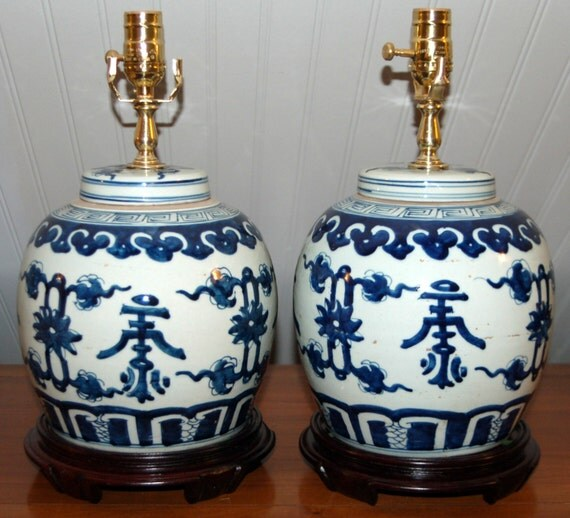 pair chinese ginger jar lamps blue and white ming style porcelain. Black Bedroom Furniture Sets. Home Design Ideas