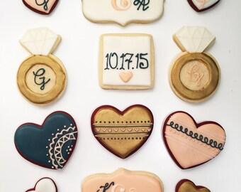 Blush, Navy, & Gold Wedding Shower Cookies (1 dozen)