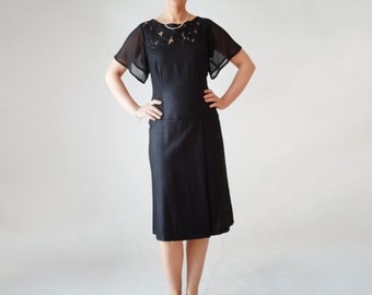 black linen dress with lace inserts and batwing sleeves, flax clothing, summer dress, midi