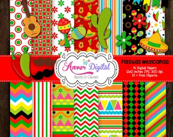 50% Off Sale!  Papers digital Fiestas Mexicanas Kit / Mexico Digital Papers Clipart / Mexican Fiestas / Mexico
