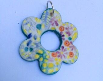 FLOWER PENDANT, porcelain, ceramic, handmade, fun colours necklace