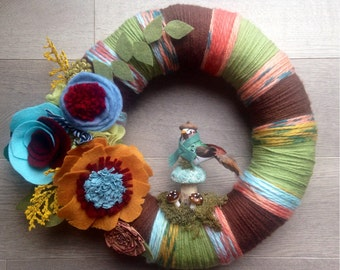 Fall Yarn Wreath, Bird Yarn Wreath, Yarn Wreath, Modern Fall Wreath, Autumn Wreath, Felt Flower Wreath, Housewarming Wreath