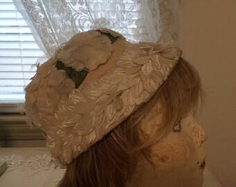 Vintage Ivory Floral Hat
