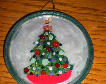 Pearl with Blue rim Christmas Tree Ornament