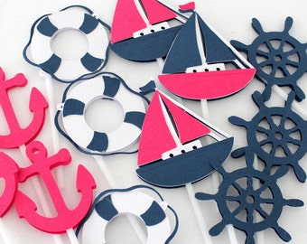 12 x Nautical Themed Cupcake Toppers; Sailing Boat, Anchor, Life Saver & Helm - Hot Pink, Navy, White
