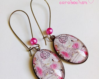 Earrings * Paris, so romantic! * eiffel tower france pink flowers, cabochon glass