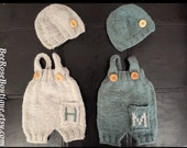 Personalized Baby Romper & Hat set, any COLOR, 0-24M, baby boy coming home outfit, personalized newborn outfit, monogram baby, knit overalls