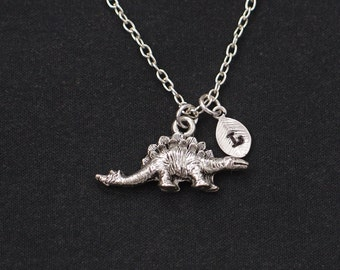 initial necklace, dinosaur necklace, silver stegosaurus charm on silver plated chain, paleontology, dino pendant, dinosaur lover gift