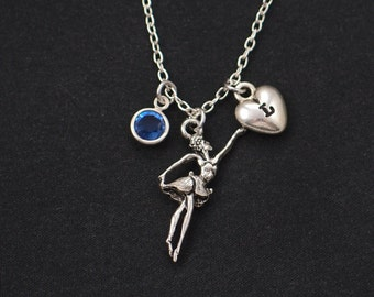 initial necklace, ballerina necklace, birthstone necklace, silver ballet dancer charm on silver plated chain,dance recital gift,ballet tutu