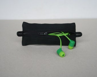 Black Mini Zipper Pouch, Earphones Case, Small Cosmetic Pouch, Earbuds Bag