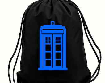 Tardis gym bag,PE bag,school bag,water resistant drawstring bag.