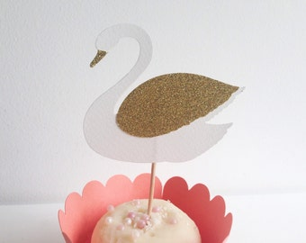 Swan Girls Birthday Party White and Gold Glitter Cupcake Toppers