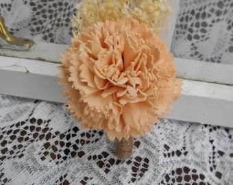 Peach Sola Flower Boutonniere, Rustic Wedding