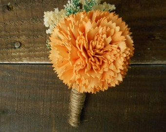 Rustic Peach Orange Boutonniere