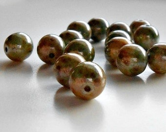 15 Opaque Green Marble with Luster Czech Round Beads, 8mm Czech Marble Rounds, Beads, Supplies, Jewelry Supplies, Bead Supplies