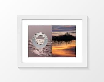 "Mother Oceania & UpSideDown / Ocean bathing pink grey sunset violet orange printable art home decor downloadable art to print / A3 / 11""x17"""
