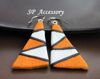 Lovely Bohemian Colorful Triangle Earrings, earrings clay, jewelry earrings